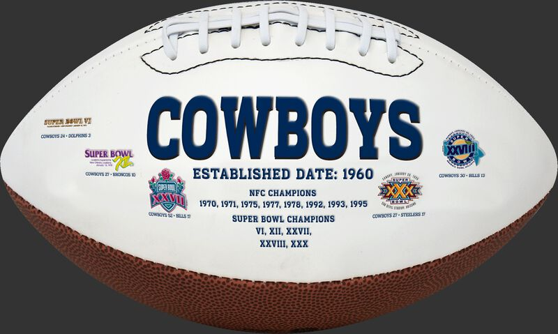 White NFL Dallas Cowboys Football With Team Name SKU #06541065811