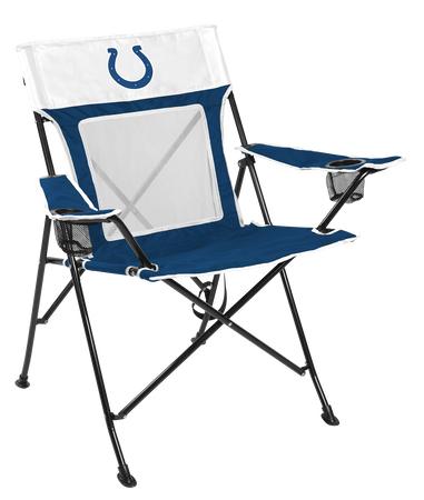 Front of Rawlings Blue and White NFL Indianapolis Colts Game Changer Chair With Team Logo SKU #00651070111