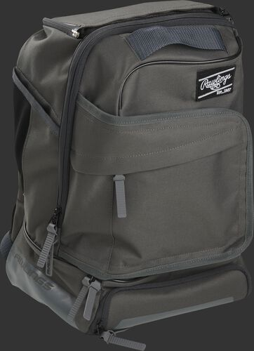 Right angle of a gray R701 baseball backpack