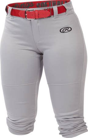 WLNCH grey Women's launch softball pants with a scarlet belt