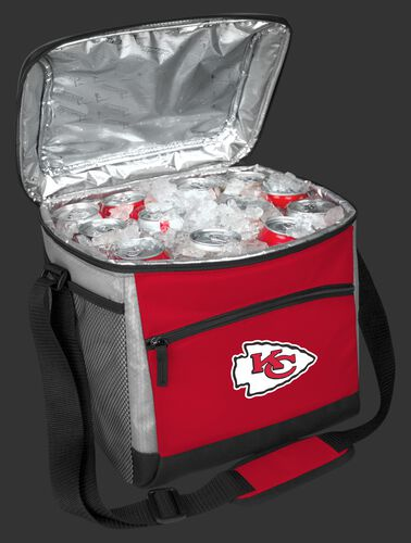 An open Kansas City Chiefs 24 can cooler filled with ice and drinks - SKU: 10211071111