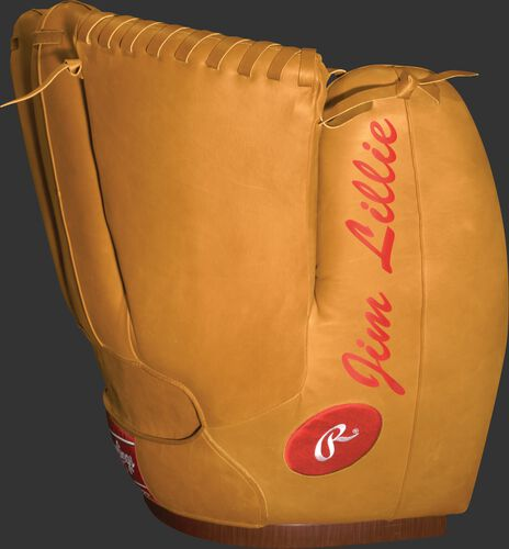 Back of Rawlings Camel Heart of the Hide Chair With Brand Logo and Custom Text SKU #M16100