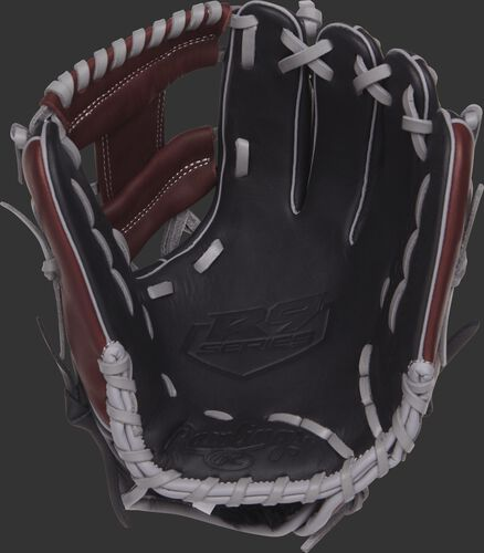 R9204-2BSG 11.5-inch Rawlings R9 Series baseball glove with a black palm and grey laces