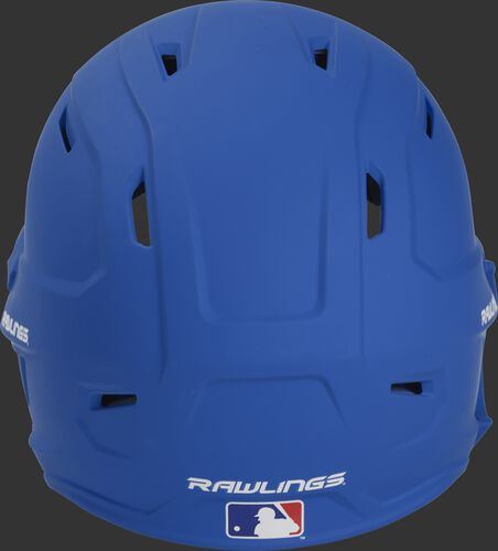 Back of a MACHEXTL high performance junior MACH helmet with a matte royal shell and Official Batting Helmet of MLB logo
