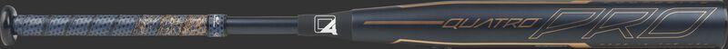 Barrel of a black FPZP10 Rawlings Quatro Pro Drop-10 bat with rose gold accents