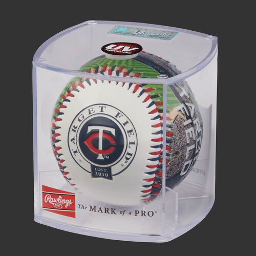 MLB Minnesota Twins stadium baseball in a display case
