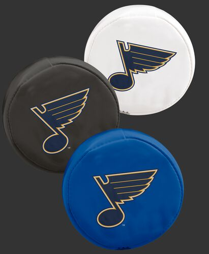 NHL St. Louis Blues 3 puck softee set with blue, black and white pucks with the Blues logo SKU #00614118111