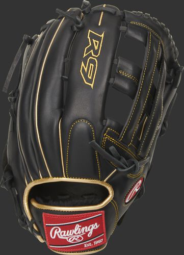 Black back of a R9 H-web outfield glove with a red Rawlings patch - SKU: R93029-6BG