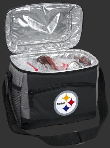 An open Pittsburgh Steelers 12 can cooler filled with ice and drinks - SKU: 10111082111