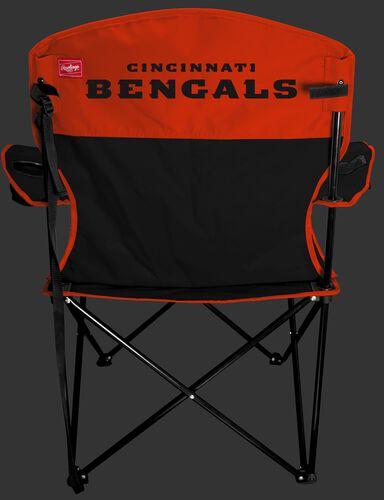 Back of Rawlings Black and Orange NFL Cincinnati Bengals Lineman Chair With Team Name SKU #31021063111