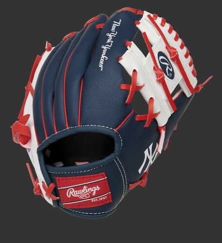 Back of a navy, white & red New York Yankees 10-inch I-web glove with a red Rawlings patch - SKU: 22000030111