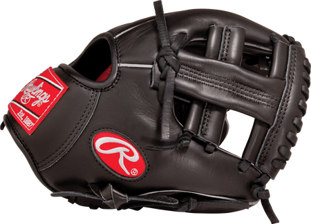 Thumb view of a black G95XT Gamer 9.5-inch training glove with a black Single Post web