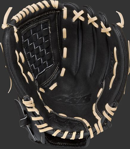 RSS125C Rawlings Softball Series 12.5-inch recreational glove with a black palm and camel laces