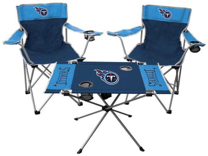 Front of Rawlings Baby Blue and Blue NFL Tennessee Titans 3-Piece Tailgate Kit With Two Kickoff Chairs, An Endzone Table, And A Transport Bag With Team Logo SKU #01041069511