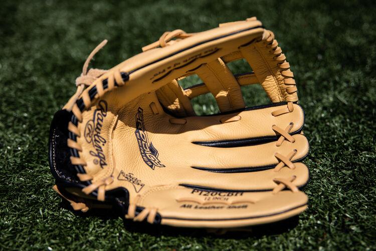 Camel palm of a Rawlings Prodigy glove on a field - SKU: P120CBH