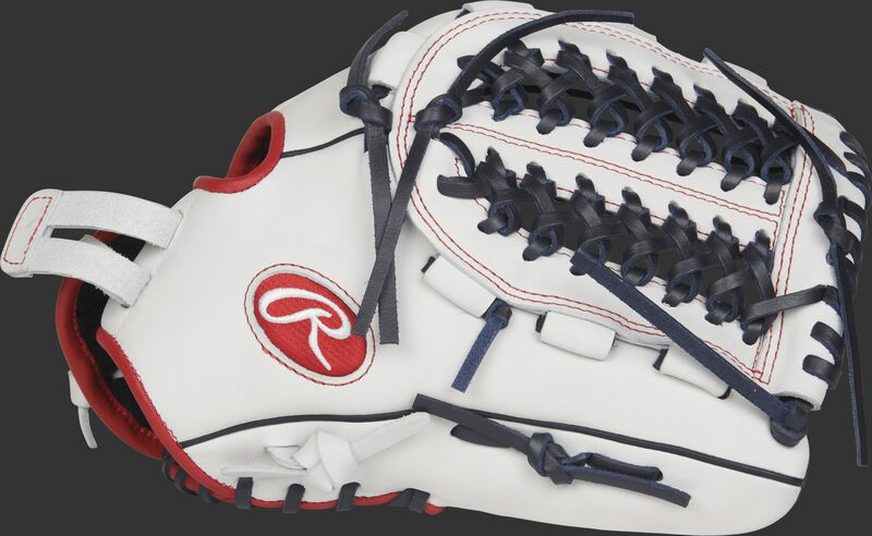 RLA125FS Liberty Advanced 12.5-inch fastpitch outfield/pitcher's glove with a white thumb and Looped Modified Trap-Eze web