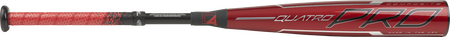 Barrel of a red USZQ8 2020 -8 Quatro Pro USA bat with black/silver accents