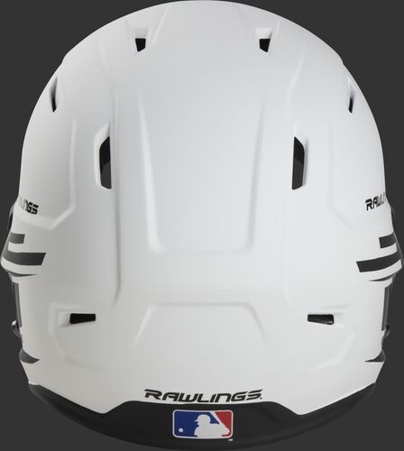 Back of a white/black Rawlings Mach fastpitch helmet with the MLB logo on the bottom - SKU: MSB13S-W/B