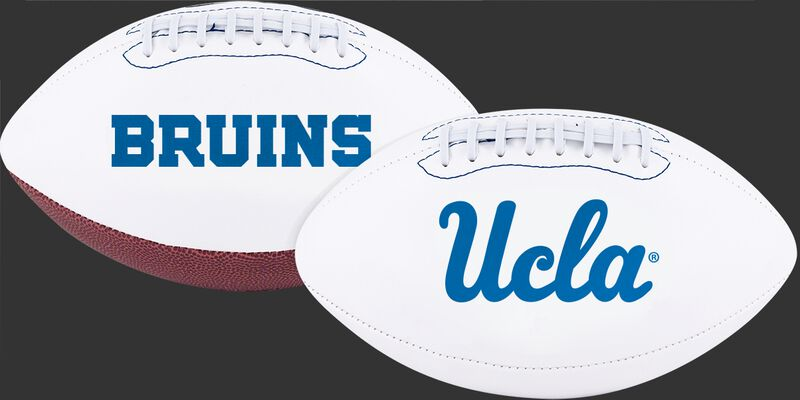 Two White NCAA UCLA Bruins Footballs With UCLA Logo on one and Bruins logo on the other - SKU #05733065121