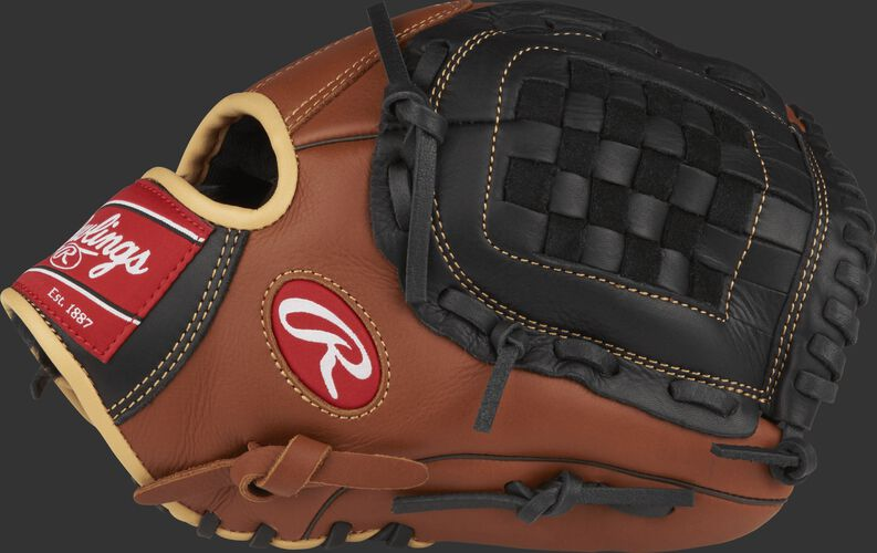 Thumb view of a brown S1200B Sandlot Series 12-inch pitcher's glove with a black basket web