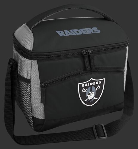 A black Las Vegas Raiders 12 can soft sided cooler with a team logo on the front - SKU: 10111072111