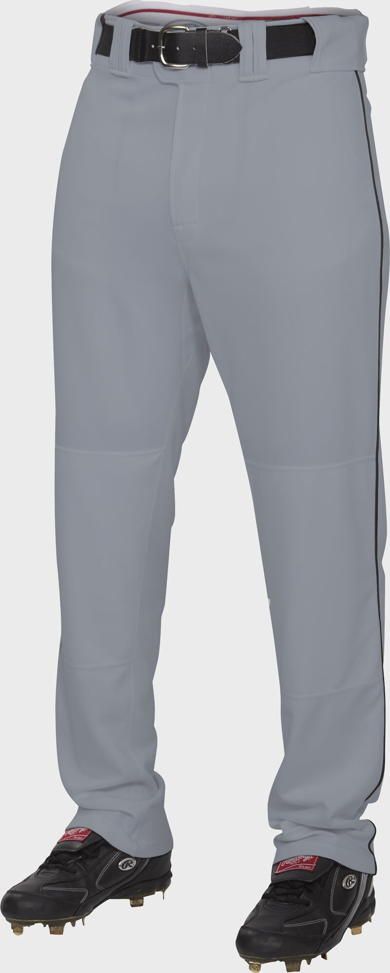 Front of Rawlings Blue Gray/Black Adult Semi-Relaxed Piped Pant - SKU #PRO150P-BG/B