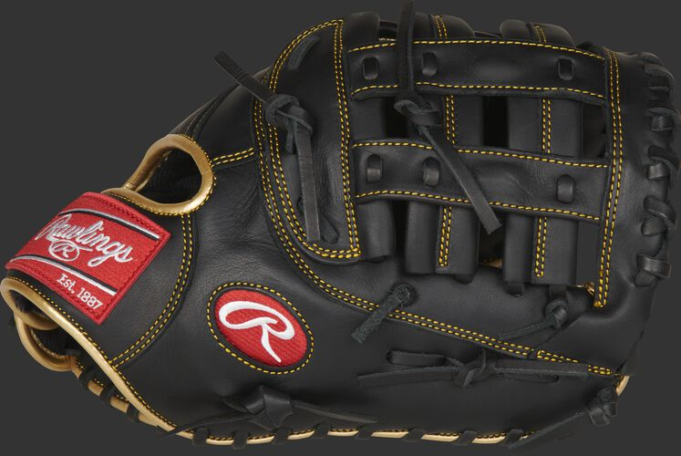 Thumb of a black R9 series 12.5-inch 1st base mitt with a black Modified H-web - SKU: R9FM18BG