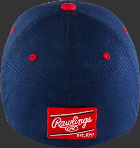 Back of a blue Rawlings Black Clover USA hat with the red Rawlings patch on the back - SKU: BCRBCU0071