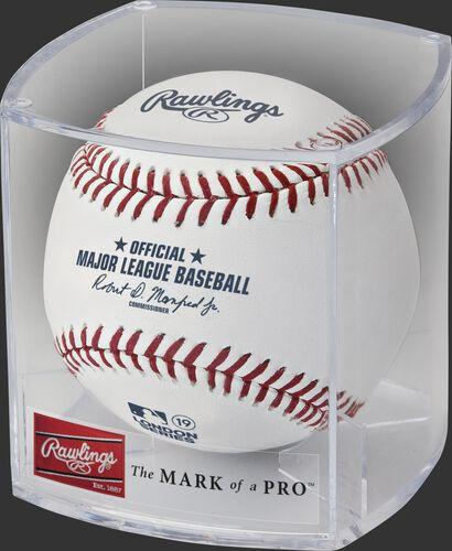 A ROMLBLS19 2019 MLB London Series ball in a clear display cube