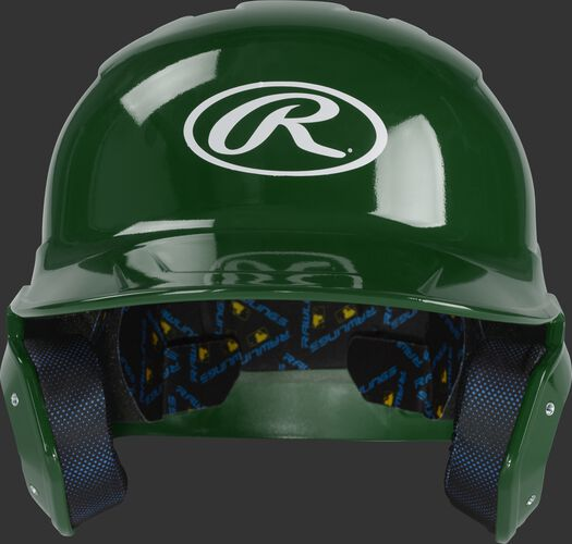 Front of a dark green MCH01A Rawlings Mach batting helmet with an Oval R logo
