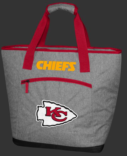 A Kansas City Chiefs 30 can tote cooler with an embroidered team logo - SKU:10311071111