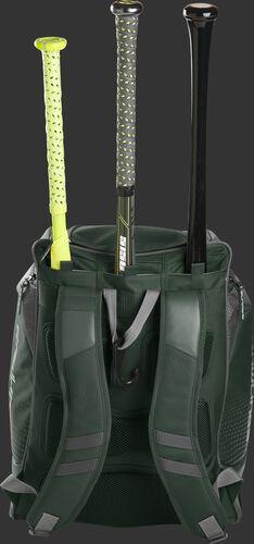 Back of a dark green Rawlings Legion baseball bag with 3 bats in the bat storage sleeve - SKU: LEGION-DG