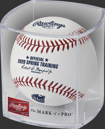 A 2020 MLB Arizona Spring Training ball in a display cube - SKU: ROMLBSTAZ20