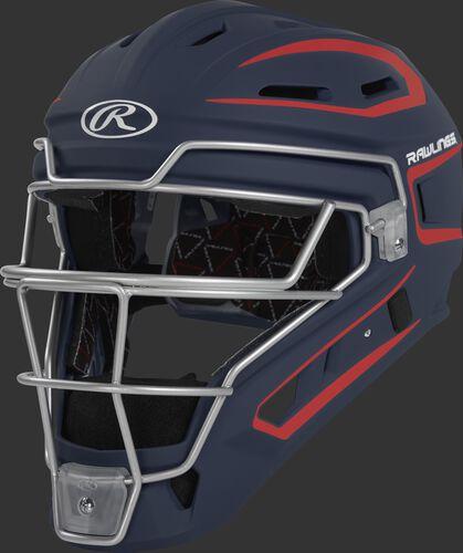 CHV27J navy/scarlet Velo 2.0 youth catcher's helmet with white trim