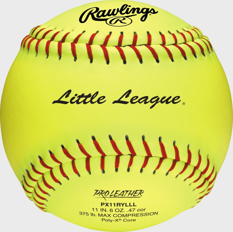 A yellow PX11RYLLL Little League official 11-inch softball with red stitching