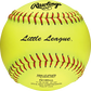 A yellow PX11RYLLL Little League official 11-inch softball with red stitching image number null