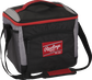 Front angle of a black 24 can cooler with a red Rawlings patch, red handle on the top and shoulder strap - SKU: 10224043511 image number null