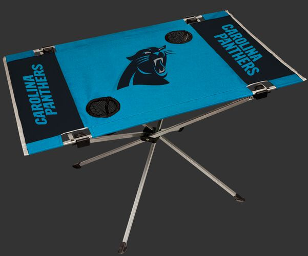Rawlings Blue and Black NFL Carolina Panthers Endzone Table With Two Cup Holders, Team Logo, and Team Name SKU #03391090111