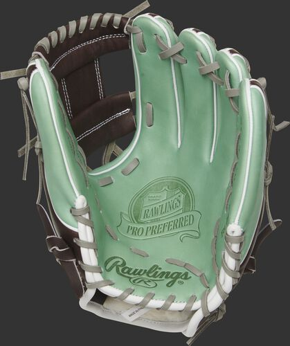 Palm view of a PROS314-2OMC 11.5-inch Rawlings infield glove with a mint palm and grey laces