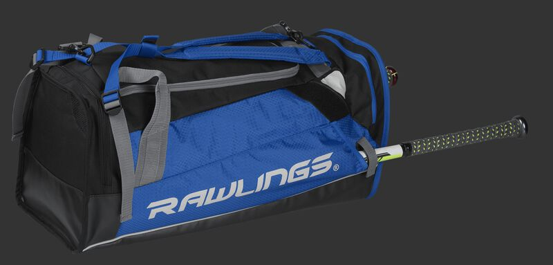 Side angle view of a royal R601 Rawlings Hybrid backpack/duffel bag with a bat in the side compartment