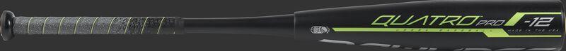 Barrel view of a UT9Q12 Quatro Pro USSSA baseball bat with two-piece construction