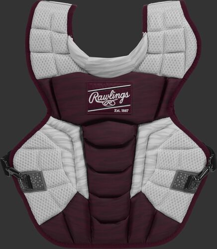 A maroon/white CPV2N Rawlings Velo 2.0 intermediate chest protector with a striped pattern
