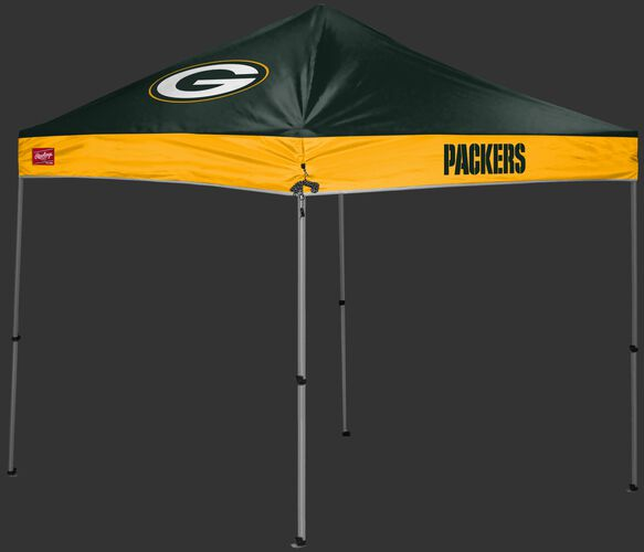 A green/yellow Green Bay Packers 9x9 shelter with a team logo on the left side - SKU: 03231068112