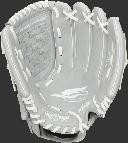 SCSB115M Rawlings Sure Catch Softball youth glove with a grey palm and white laces
