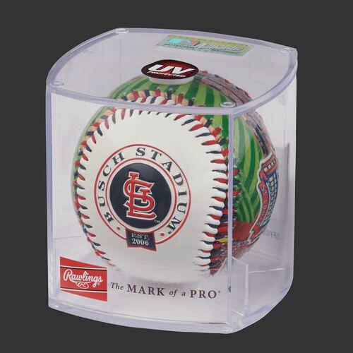 MLB St. Louis Cardinals stadium baseball in a display case