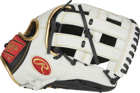 Thumb of a white EC1225-6BW Rawlings Encore 12.25-inch outfield glove with a white H web with extended base design