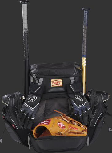 Front right of a black R1000 Gold Glove Series baseball backpack with two bats and cleats