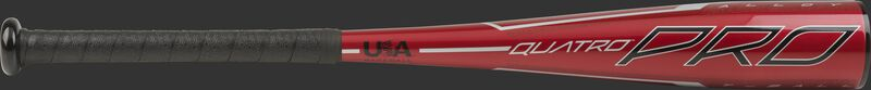 Barrel of a red TBZQ11 Rawlings 2020 Quatro Pro t-ball bat with black/silver accents