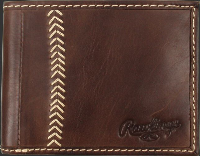 A brown MW485-201 Baseball Stitch bi-fold wallet folded close with tan stitching on the left and an embossed Rawlings logo