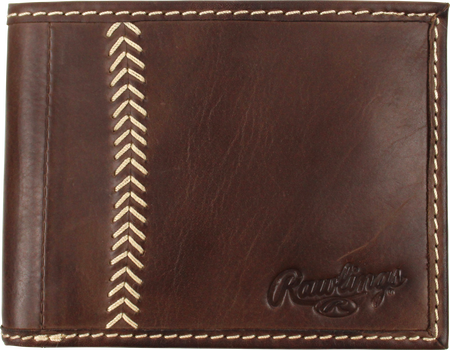 A brown MW485-201 Baseball stitch bi-fold wallet with tan stitching on the left and an embossed Rawlings logo